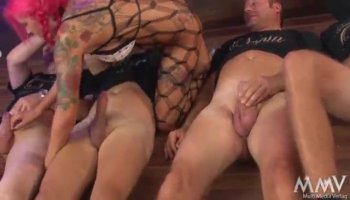 Bikini babes sharing one cock in foursome